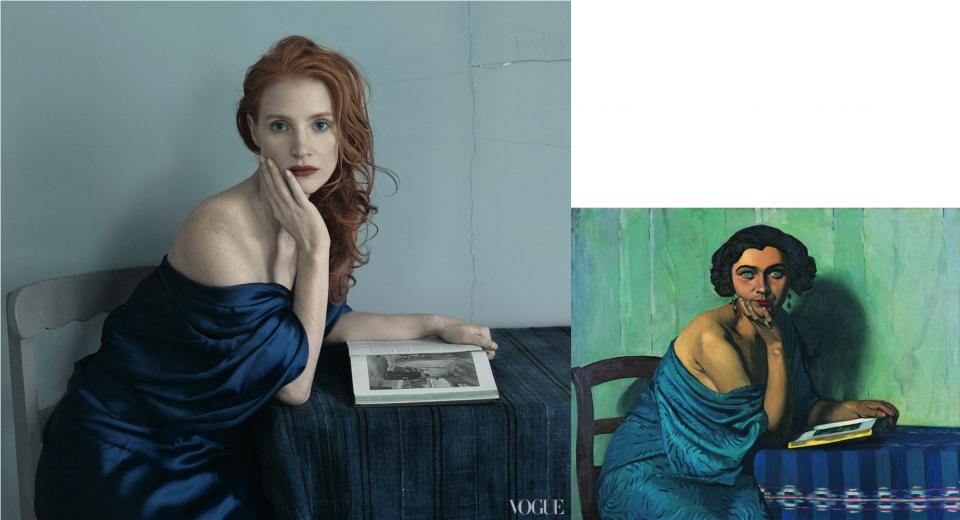 Jessica Chastain-.Vogue-Le retour de la mer-Félix Vallotton