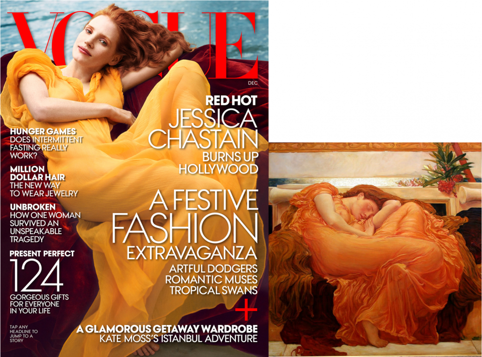 Jessica Chastain-Vogue-Flaming June-Frederic Leighton