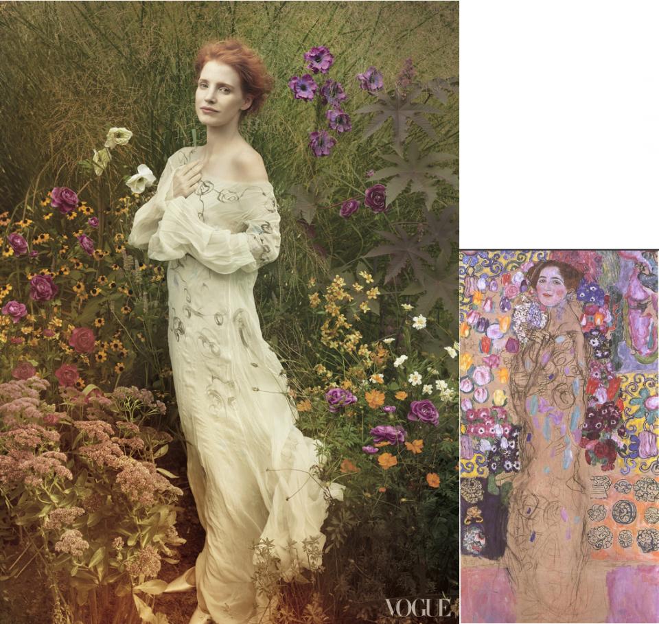 Jessica Chastain-Vogue-Ria Munk-Gustav Klimt