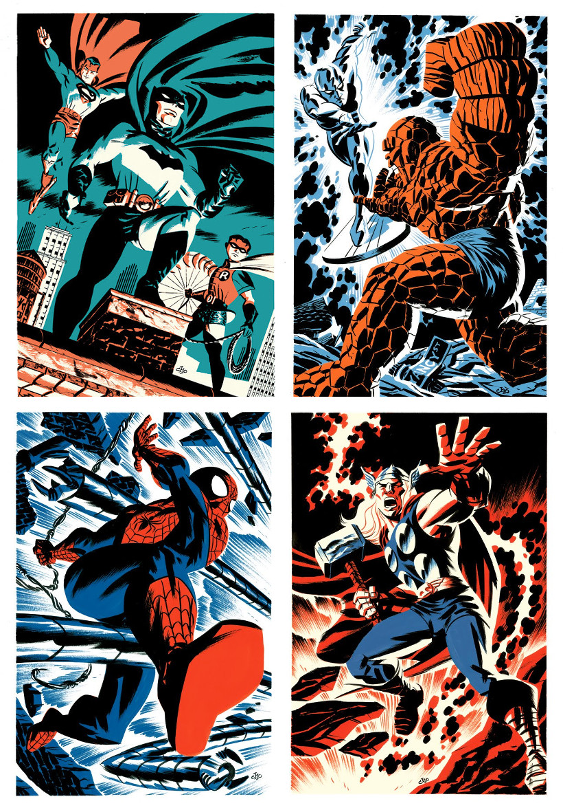 Michael Cho-Spider-man-thor-batman-robin-superman-la chose