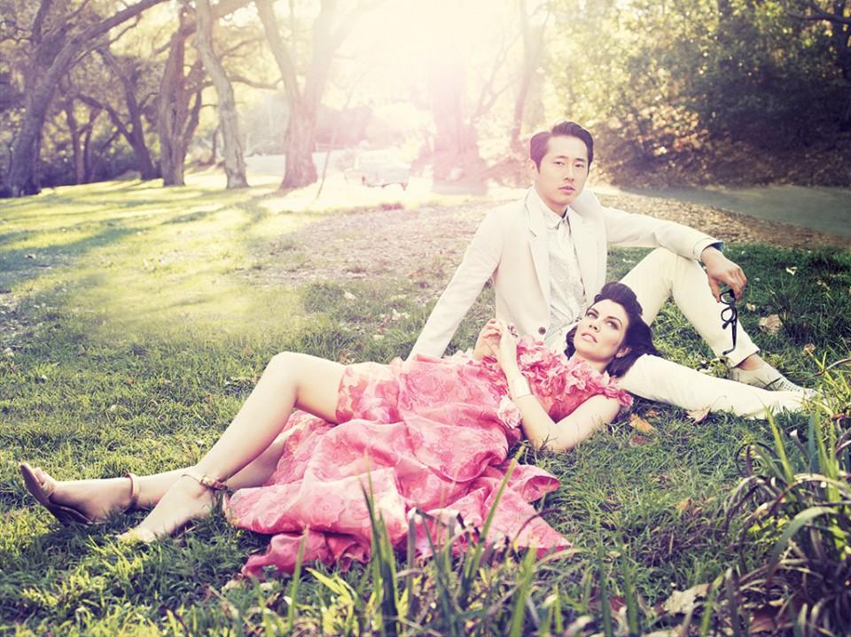 Steven Yeun & Lauren Cohan-The Walking Dead-Los Angeles Magazine2