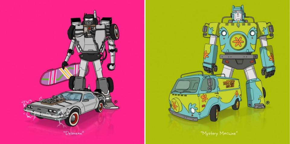 Darren Rawling-Retour vers le futur-Delorean-Gran Torino-Scooby Doo-Mystery Machine-Transformers