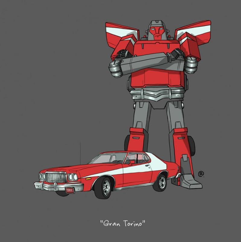 Darren Rawling-Retour vers le futur-Delorean-Gran Torino-Scooby Doo-Mystery Machine-Transformers2