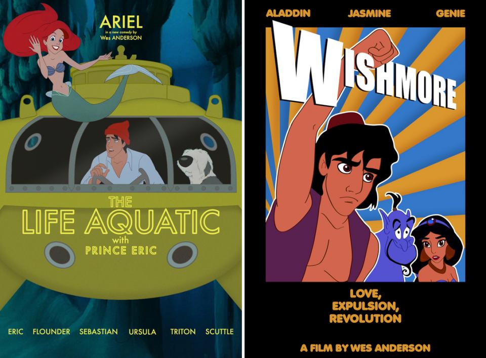 Jen Lewis-Wes Anderson-Disney-La vie aquatique-la petite sirène-rushmore-aladin-fantastic mr fox-rox et rouky-the grand budapest hotel-la belle et la bête1