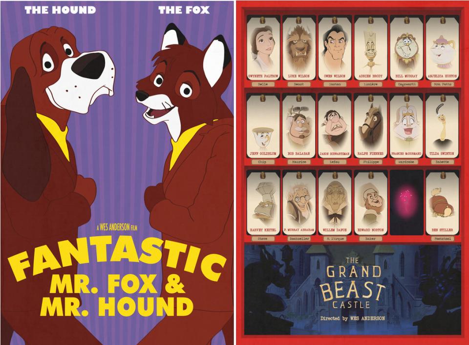 Jen Lewis-Wes Anderson-Disney-La vie aquatique-la petite sirène-rushmore-aladin-fantastic mr fox-rox et rouky-the grand budapest hotel-la belle et la bête12