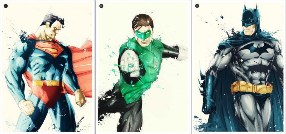 FLorent Belmonte-Batman-Green Lantern-Superman