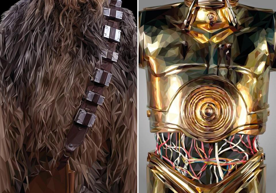 Simon Delart-Star Wars-Chewbacca-C3PO