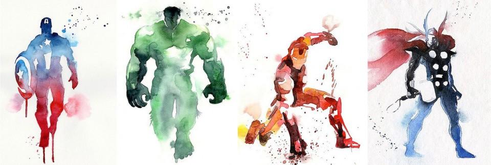 Blule-Captain America-Hulk-Iron Man-Thor